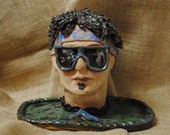 Hand-built, Altered, and Decorated Ceramic Clay Surfer Dude Bust with Sunglasses and Floral Pattern Headband   Handmade Gift   Home Decor