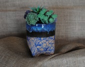 Small Hand-built and Altered Footed Planter Pot with Screen-printed Floral Pattern and Drainage Holes | Home Decor | Handmade Gift
