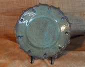 Wheel-thrown and Hand-altered and Glazed Decorative Plate with Carved Edge Details | Home Decor | Handmade Gift