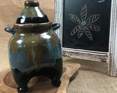 Wheel-thrown and Hand-altered Ceramic Clay Pet Urn with Beautiful Cool Tone Glazes, Handles, and Lid