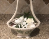 Wheel-thrown and Hand-altered and Decorated Ceramic Porcelain Basket with Handle and Flower Details   Handmade Gift   Wedding   Flower Girl