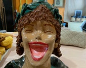 Hand-built, Altered, Decorated, and Glazed Ceramic Clay Laughing Lady Head Flower Pot Planter Plant Container with Leaf Crown and Tray