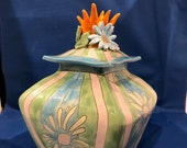 Hand-built, Altered, Decorated and Glazed Ceramic Clay Lidded Floral Storage Jar Canister   Handmade Gift   Practical Home Decor  