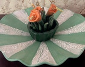 Elegant Hand-built, Altered and Glazed Ceramic Clay Floral Centerpiece in Green and Orange with Separation Glaze | Handmade Home Decor