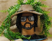 Hand-built, Decorated and Glazed Rasta Man 2 Flower Pot Planter Head Bust with Hat, Sunglasses, Beard and Drainage Holes | Handmade Gift