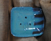 Hand-built, Altered and Glazed Blue and Bronze Soap Dish with Drainage Holes and Stamped Flower and Bee Details | Handmade | Practical Decor