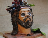 Hand-built, Altered, and Glazed Ceramic Clay Cool Guy Head Planter Plant Pot Container with Drainage Holes and Built-in Tray   Handmade Gift