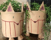 Hand-built, Altered and Decorated Footed Fox Flower Pot Planter Plant Container with Drainage Holes | Handmade Gift for Plant Lovers | Decor
