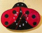 Adorable Hand-built, Altered, and Decorated Ceramic Clay Ladybug Hanging Wall Clock | Handmade Gift | Practical Home Decor