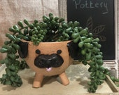 Wheel-thrown and Hand-altered and Decorated Dog Puppy Flower Pot Succulent Planter Plant Container with Drainage Holes   Handmade Gift