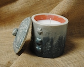 Handmade Bayberry Candle in Hand-built, Altered, and Glazed Ceramic Clay Jar with Lid and Star, Love and Leaf Details   Gift