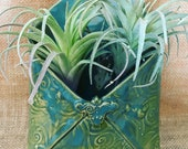 Hand-built, Altered and Glazed Wall Hang Air Plant Pockets with Flower Detail   Home Decor   Living Wall   Handmade Gift for Plant Lovers
