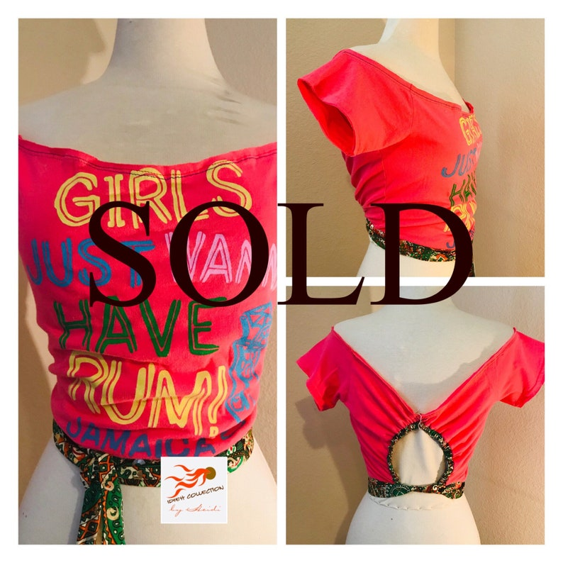 FUNKY \u201cGirls Just Want To Have Rum Jamaica\u201d REVAMPEDUPCYCLE hot pink logo t shirt.