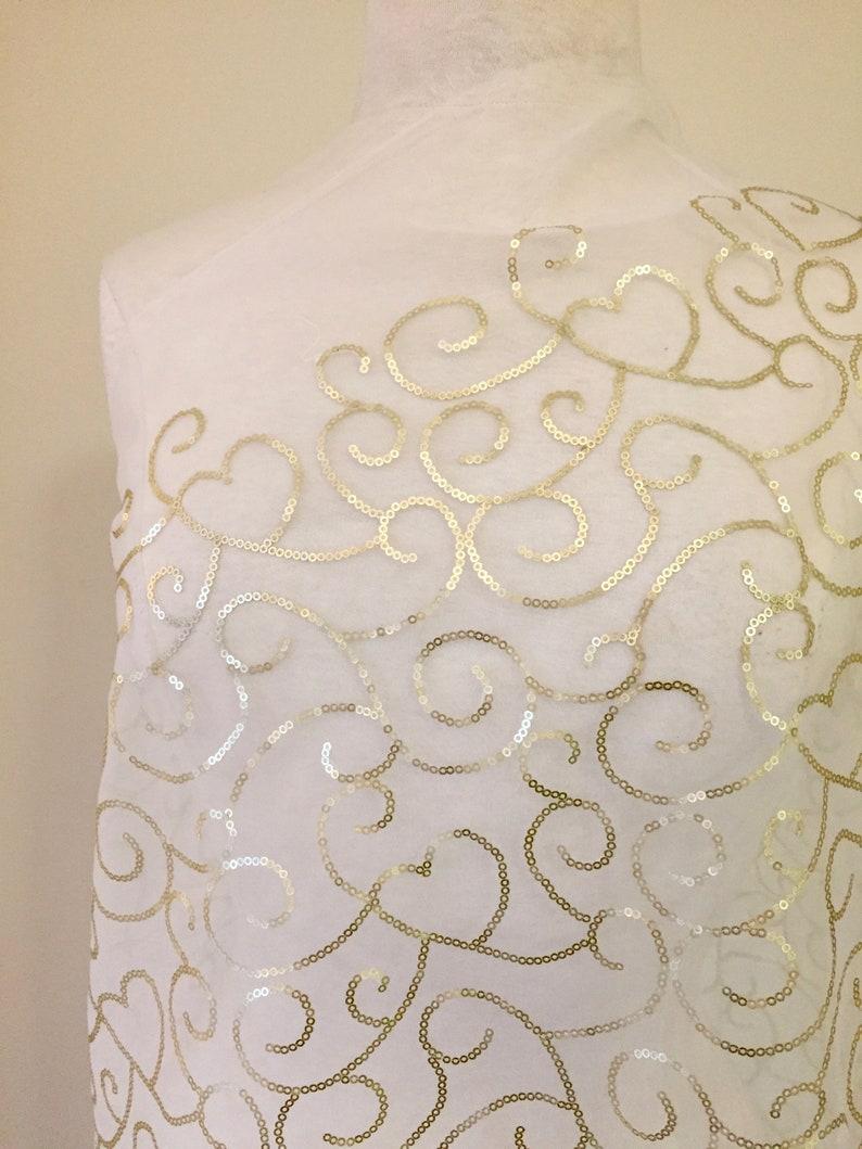 flat mini sequins on white organza Gold sequin swirl fabric 1 metre piece