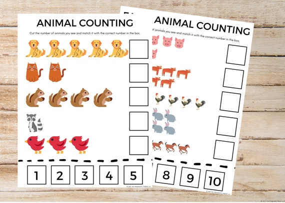 Counting Worksheets Learning To Count Worksheet Kindergarten Etsy
