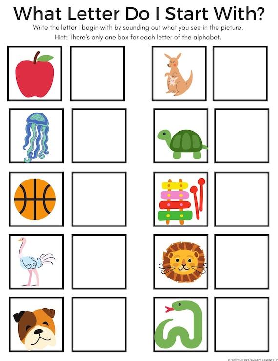 Beginning Sounds Letter Recognition Kindergarten Worksheet Etsy