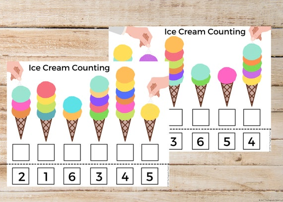 Ice Cream Counting Worksheets Learning To Count Kindergarten Etsy