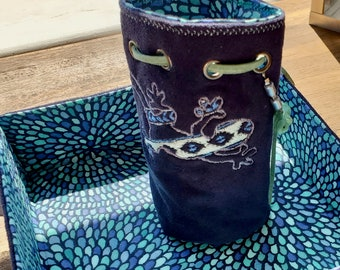 Blue Gecko - Dice bag and Reversible Rolling Tray - Matching Set - DnD, Pathfinder, TTRPG - Handmade