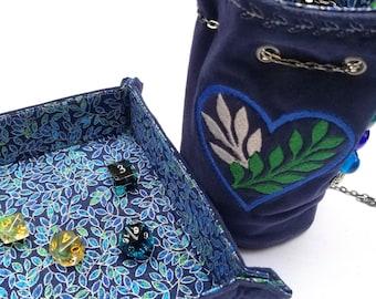 Nature Lover - Dice bag & Reversible Rolling Tray - Matching Set - DnD, Pathfinder, TTRPG - Handmade