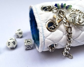 Cone of Cold - Dragonscale Dice Bag - Hand Quilted - DnD, TTRPG, Pathfinder - Handmade