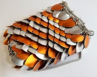 Scalemail Dice Bag - Orange & Silver - DnD, Pathfinder, TTRPG - Handmade - Scalemaille