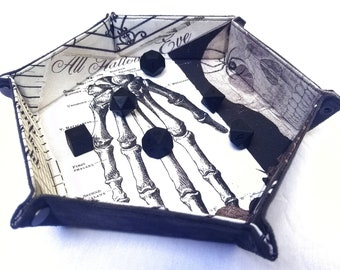 Skeletal Hand - Hexagonal Dice Tray - Collapsible - DnD, TTRPG, Gaming