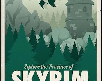Skyrim Travel Poster cross stitch pattern pdf format
