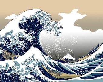 The Great Wave Off Kanagawa cross stitch pattern pdf format