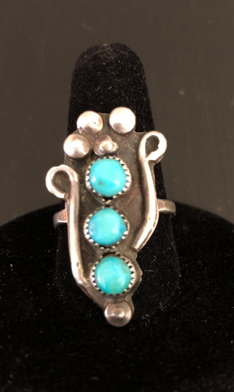 Vintage Native American Turquoise Three Stone Silver Ring