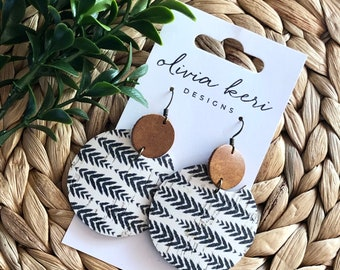 Metallic rose gold thick cork on real genuine leather lightweight teardrop earrings multiple sizes