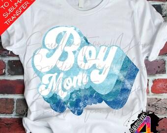 ready to press heat transfer Boy Mom patterned sublimation heat transfer cotton tshirt transfer rainbow boy mom Tshirt Transfer