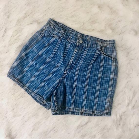 VINTAGE 1960s Levis orange tab plaid denim shorts