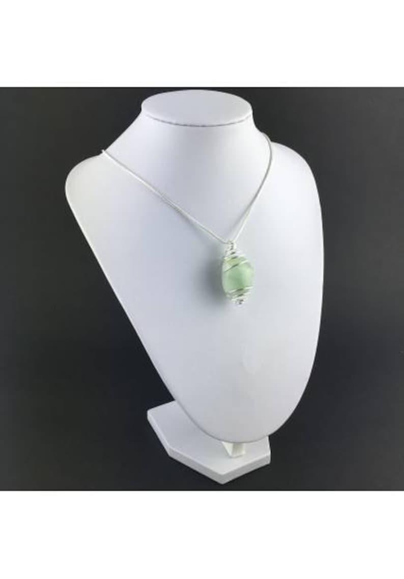 Green Fluorite Pendant Handmade Silver Plated Spiral Necklace
