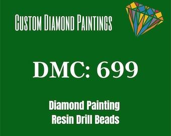 diamond painting beads 600 diamonds DMC 699 Green fruit confits - Round or square rhinestone bags