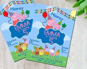 Peppa Pig Birthday Invitation, Peppa Pig Birthday, Kids Birthday Invitation, Printable Invitation, Digital File Only
