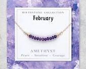 February birthstone necklace, Genuine Amethyst jewelry, February birthday gifts girlfriend, Gemstone bar necklace, Womens delicate necklace