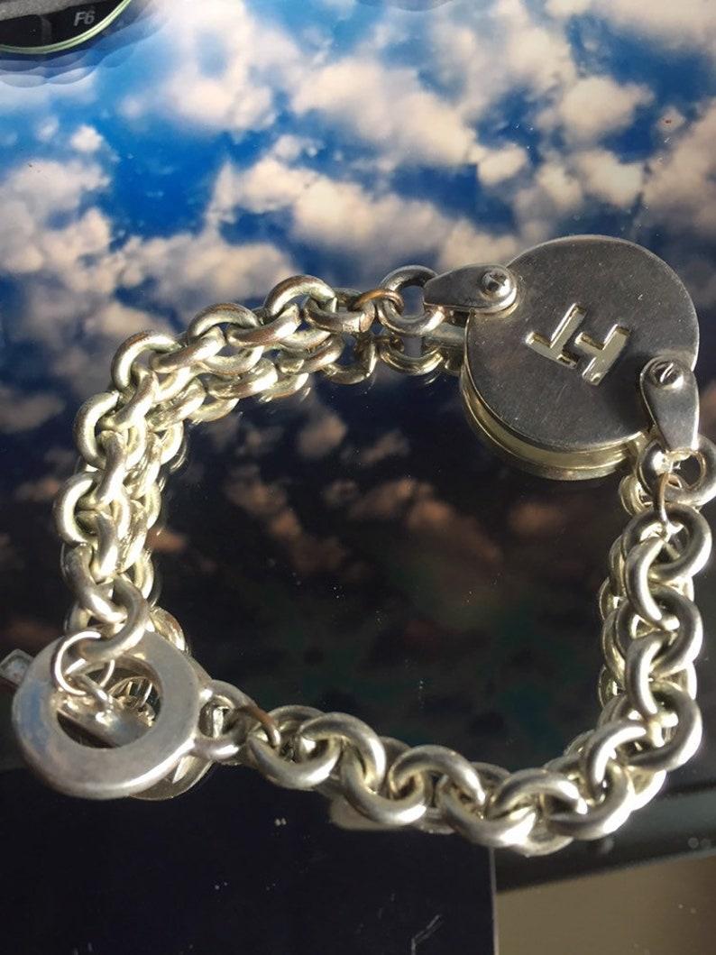 Vintage Tommy Hilfiger SIGNED Dbl Link Silver Color Bracelet w RARE Logo Madallion