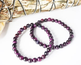 Purple Tiger's Eye Handmade Bead Bracelet