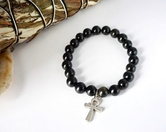 Ankh Obsidian Black Bead Bracelet - 8mm bead