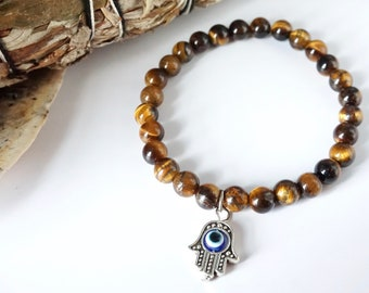 Tiger's Eye [WITH or WITHOUT Hamsa Pendant] Healing Bracelet - Handmade
