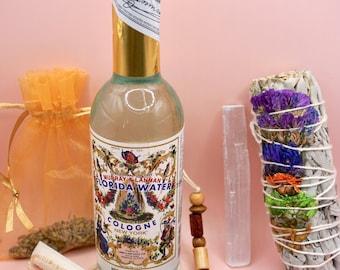 Bless & Protect Home Kit: Florida Water, Handmade Hamsa/Feather Talisman, Selenite + Tourmaline, Sage Stick, Lavender Rosemary Sachet