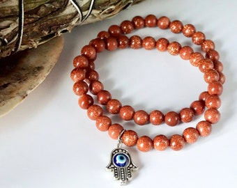 Gold Sandstone [WITH or WITHOUT Hamsa Pendant] Healing Bracelet - Handmade