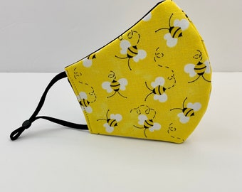 3 Layer Face Mask, 100% Cotton Fabric, Washable, Reusable, Mouth Cover, Bumble Bees