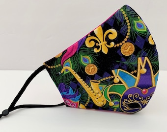 3 Layer Face Mask, 100% Cotton Fabric, Washable, Reusable, Mouth Cover, Mardi Gras