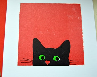 Is it safe to go out yet? Peeping Tom Cat Greetings Card. Letterpress. Hand printed.