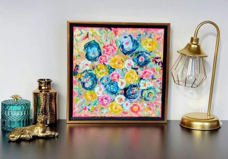 Original Floral Painting Abstract Florals Colorful gold foil,12 x 12 in Pink Art Gifts under 150 Modern Vintage inspired Floral Art