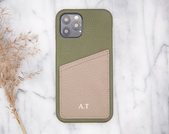 Personal iPhone 12 and iPhone 12 Pro olive pebbled leather case