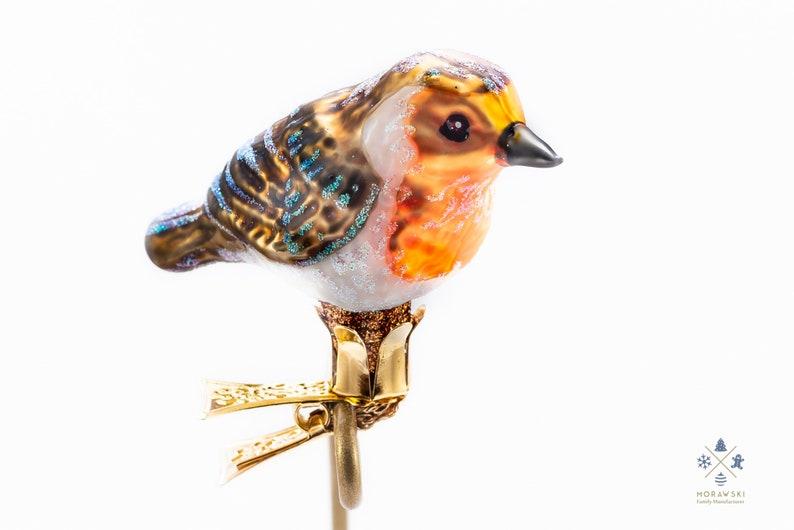 Handmade Glass Robin Bird Clip On Christmas Ornament Etsy