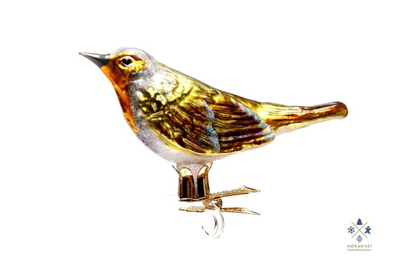 Handmade Glass Robin Clip On Christmas Ornament Collectible Etsy