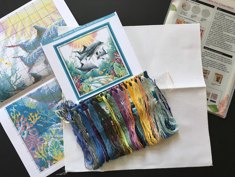 Cross Stitch Kit Dolphins